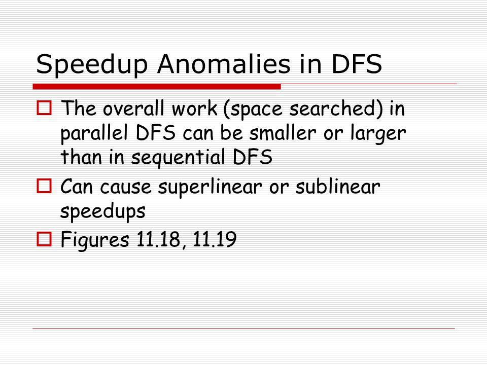 Speedup Anomalies in DFS