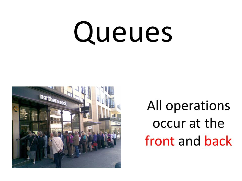 All operations occur at the front and back
