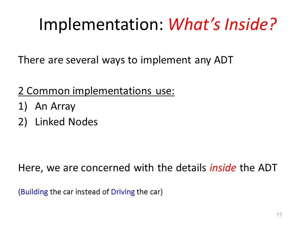 Implementation: What's Inside