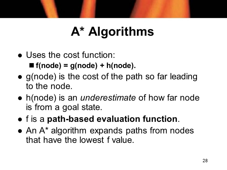 A* Algorithms Uses the cost function: