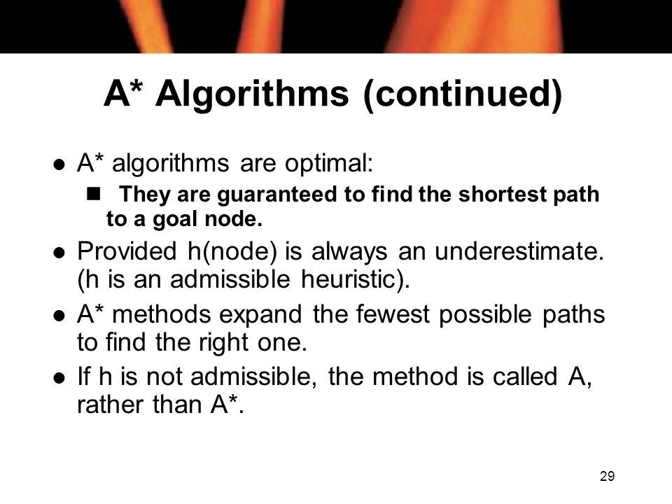 A* Algorithms (continued)