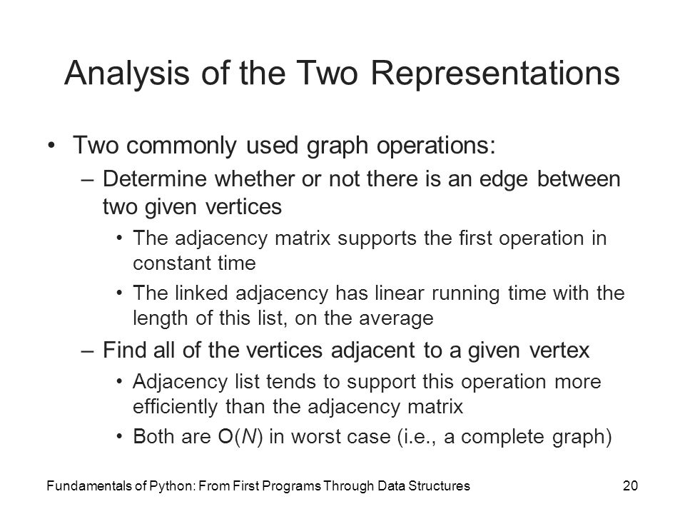 Analysis of the Two Representations