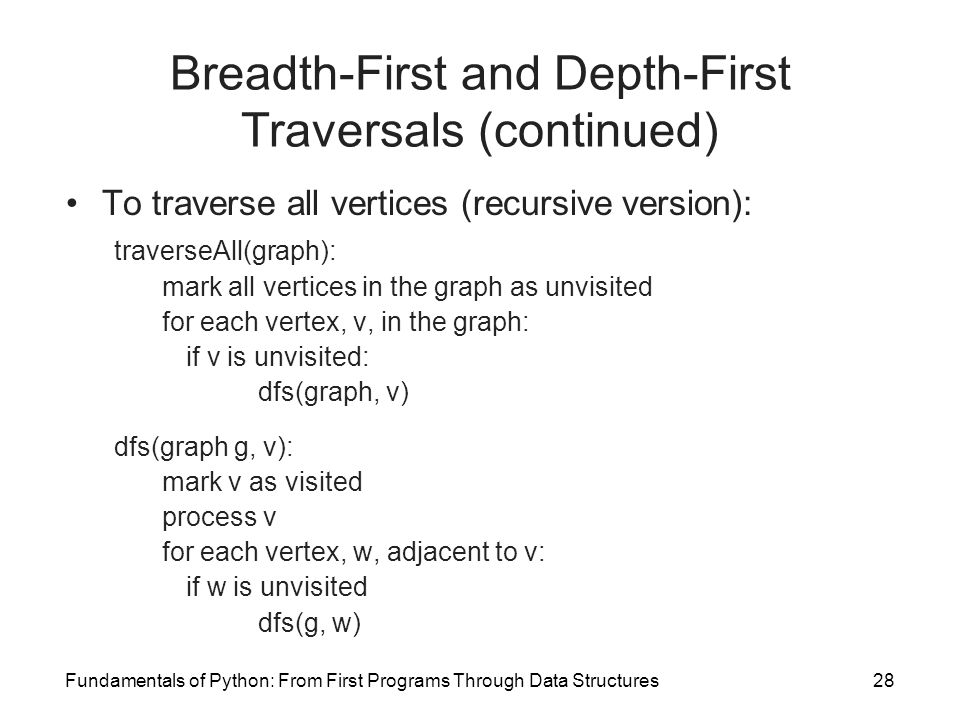 Breadth-First and Depth-First Traversals (continued)