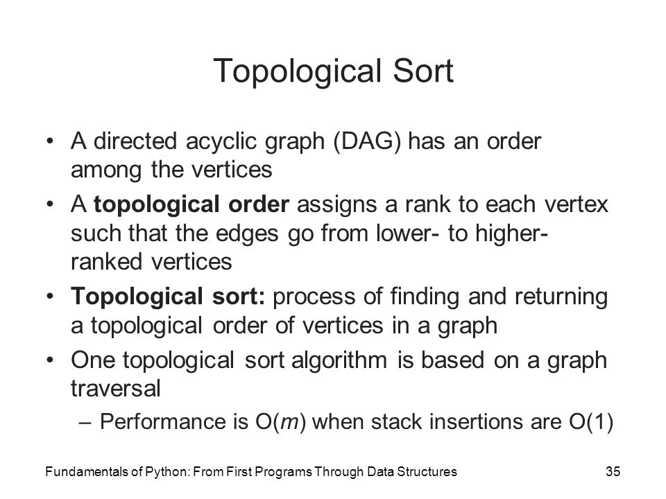 Topological Sort A directed acyclic graph (DAG) has an order among the vertices.