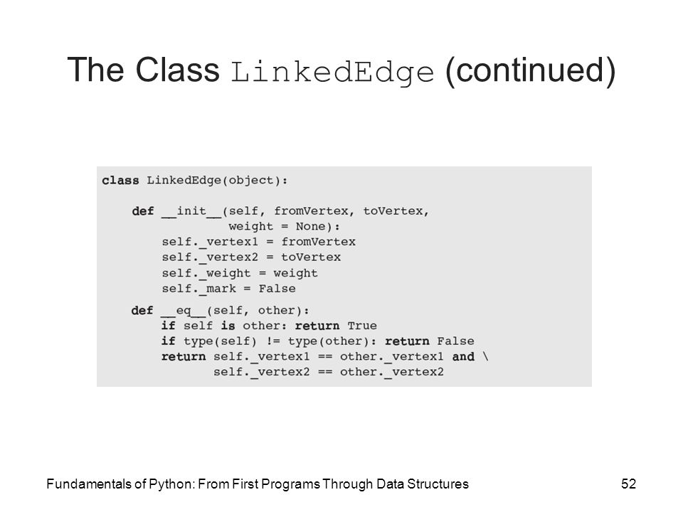 The Class LinkedEdge (continued)