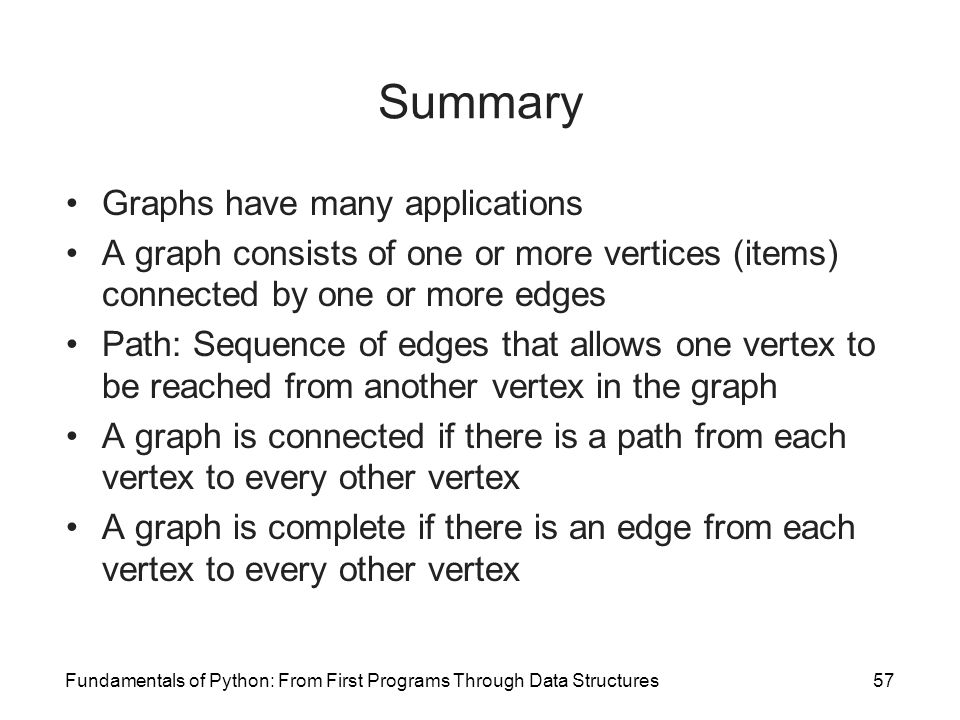 Summary Graphs have many applications