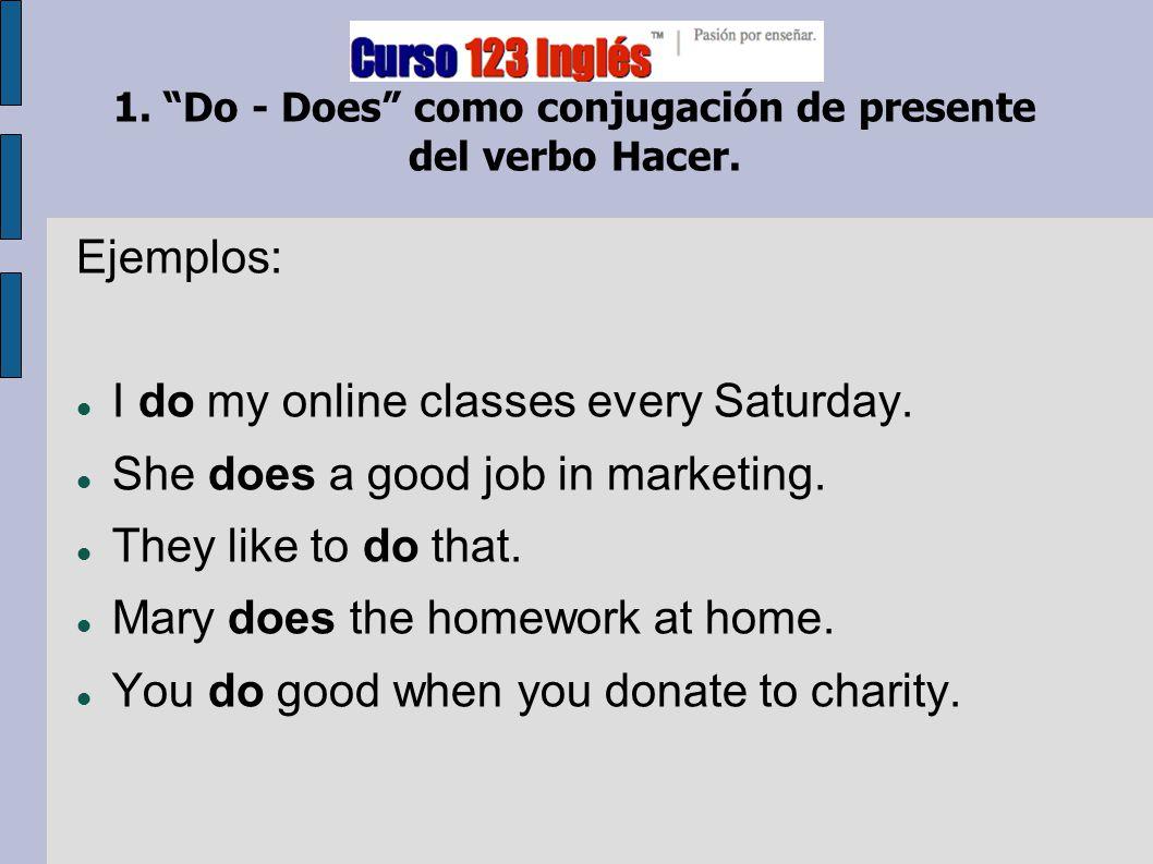 1. Do - Does como conjugación de presente del verbo Hacer.