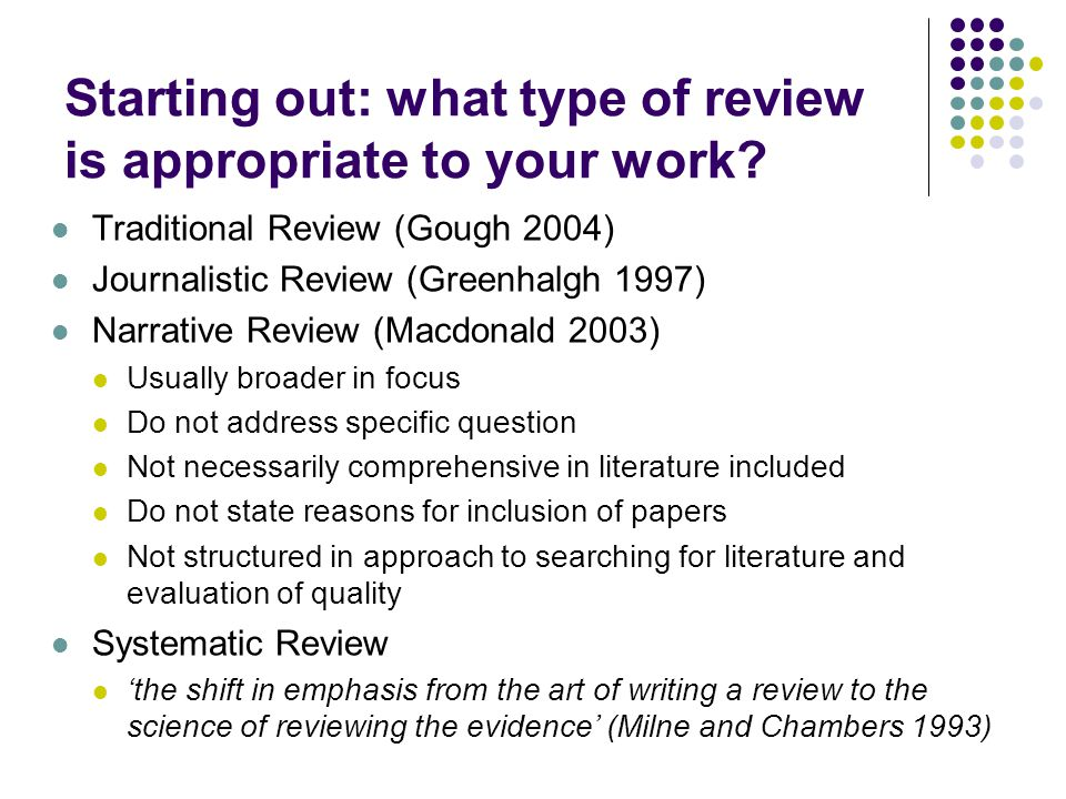 Starting out: what type of review is appropriate to your work