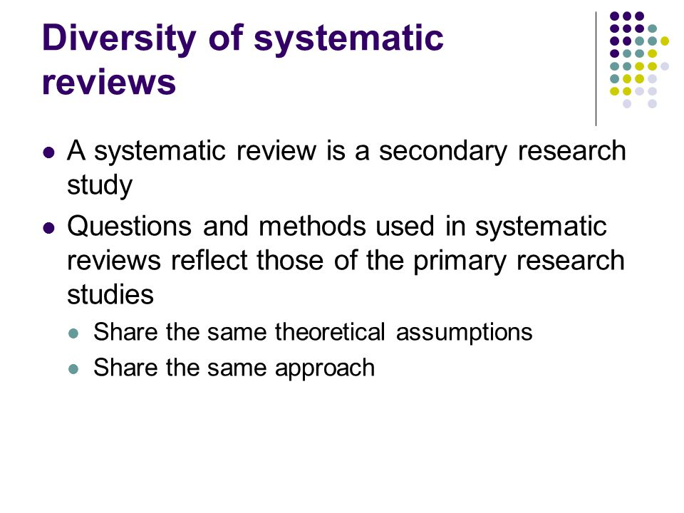 Diversity of systematic reviews