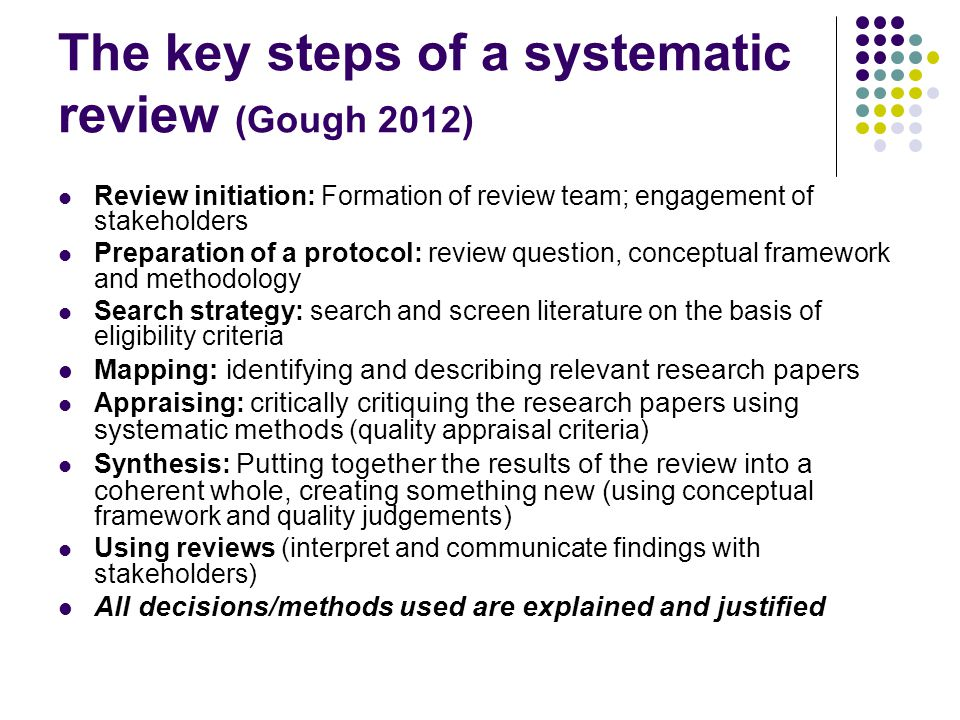 The key steps of a systematic review (Gough 2012)