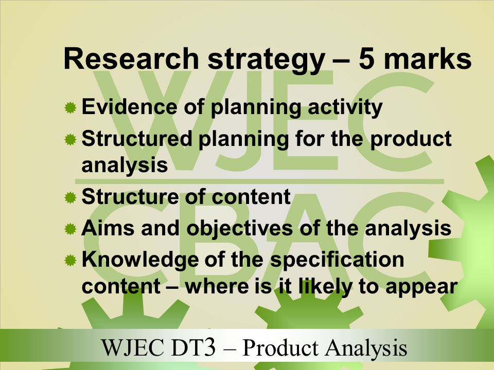 Research strategy – 5 marks