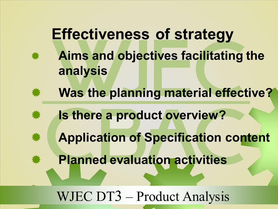 Effectiveness of strategy