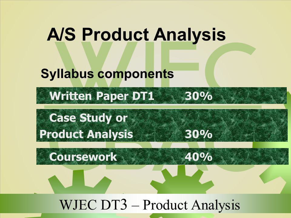 A/S Product Analysis Syllabus components Written Paper DT1 30%