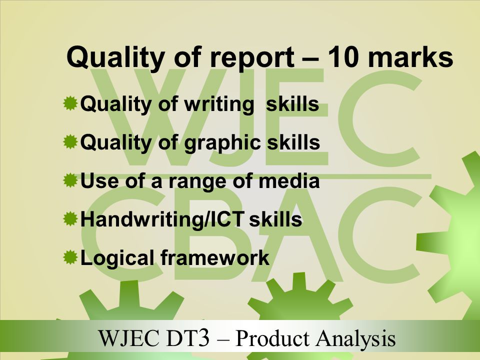 Quality of report – 10 marks