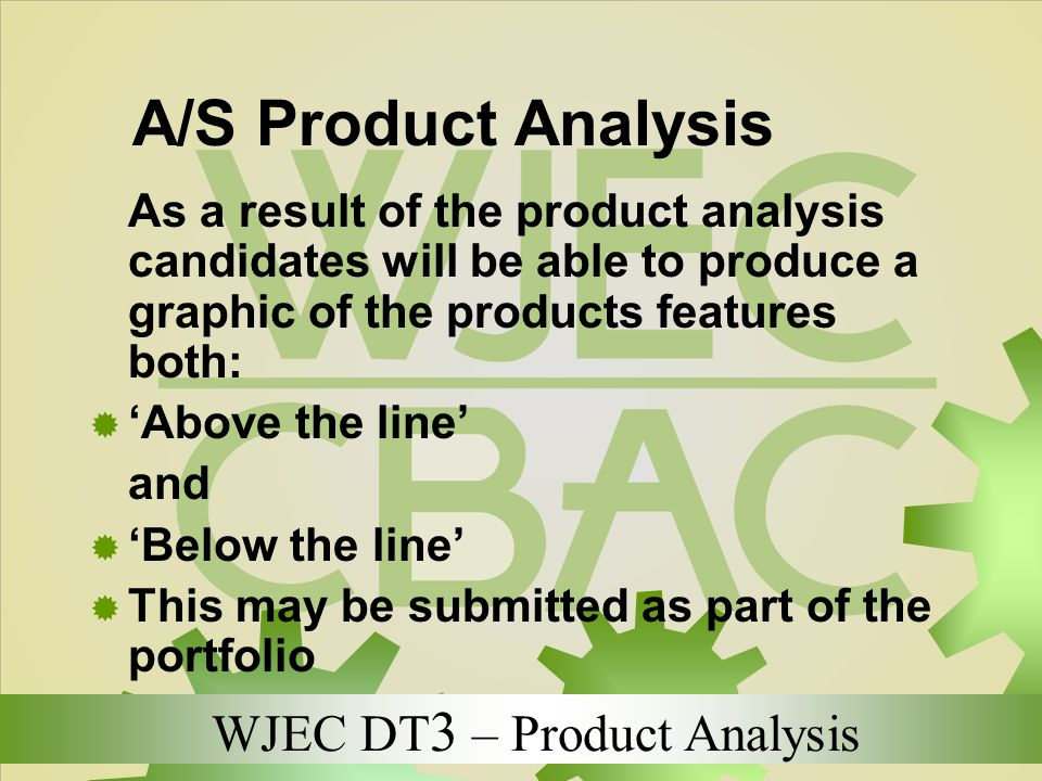 A/S Product Analysis 'Above the line' and 'Below the line'