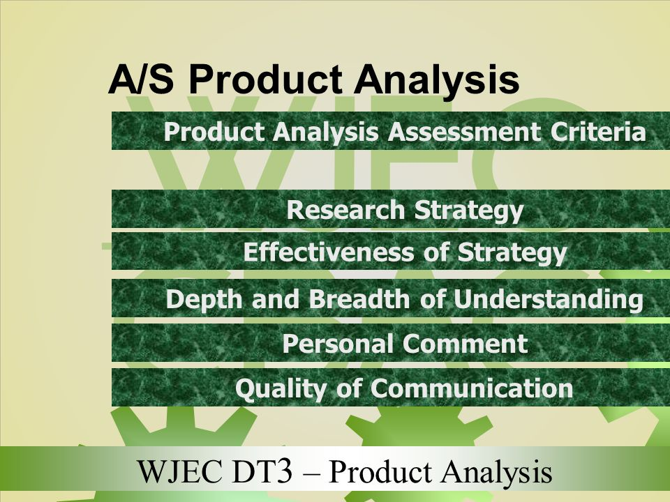 A/S Product Analysis Product Analysis Assessment Criteria