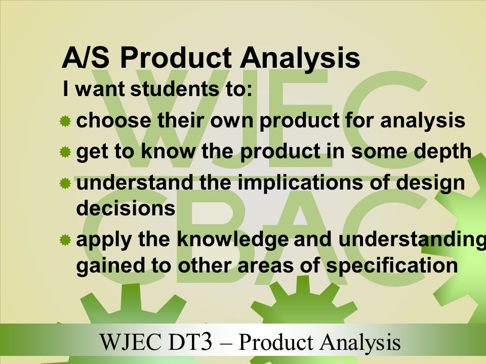 A/S Product Analysis choose their own product for analysis