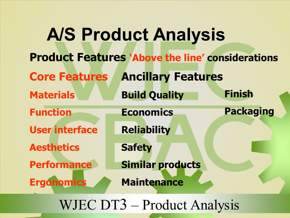 A/S Product Analysis Product Features 'Above the line' considerations
