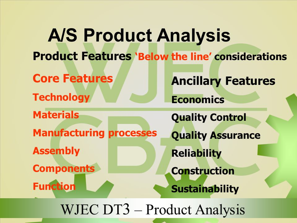 A/S Product Analysis Product Features 'Below the line' considerations