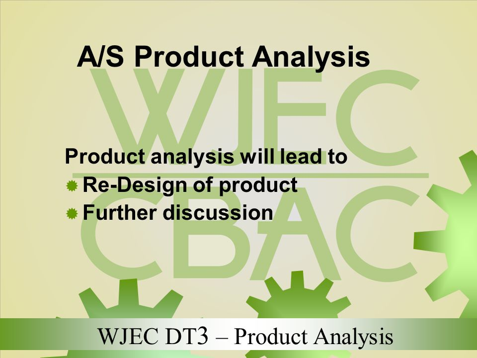 A/S Product Analysis Product analysis will lead to