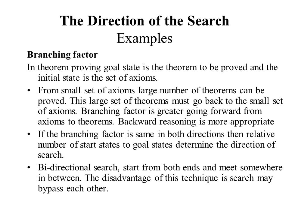 The Direction of the Search Examples