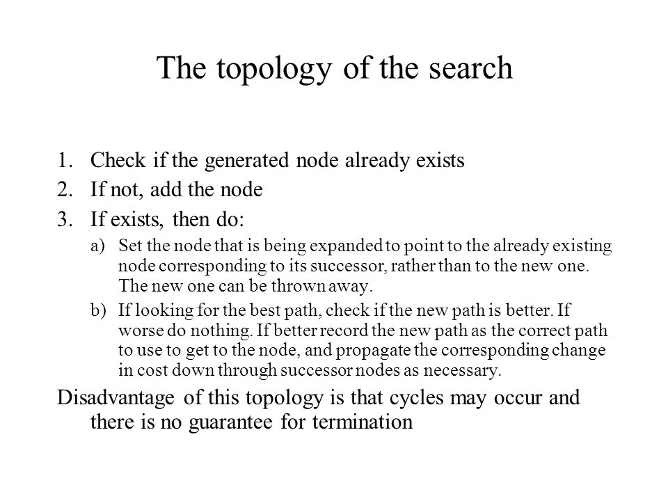 The topology of the search