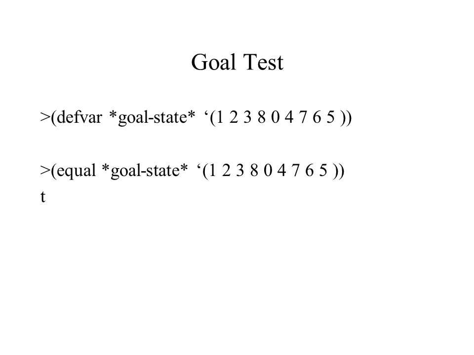 Goal Test >(defvar *goal-state* '(1 2 3 8 0 4 7 6 5 ))