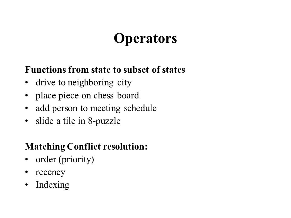 Operators Functions from state to subset of states