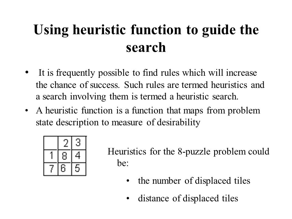 Using heuristic function to guide the search