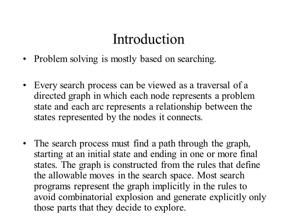 Introduction Problem solving is mostly based on searching.