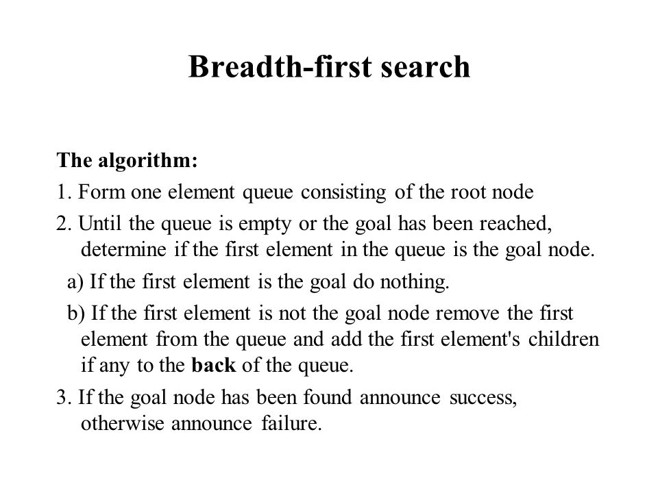 Breadth-first search The algorithm: