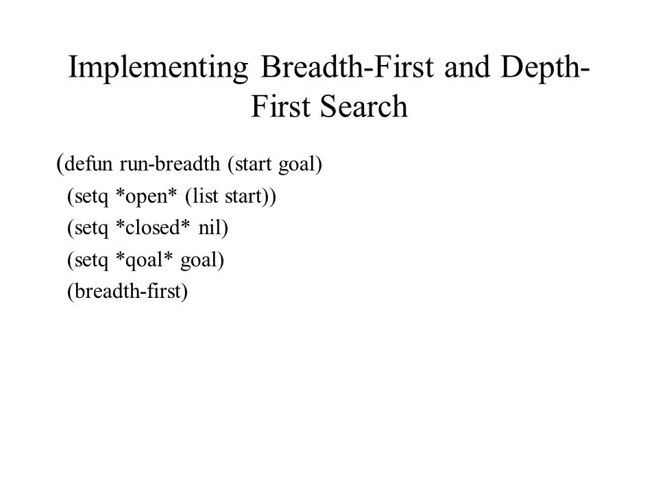 Implementing Breadth-First and Depth-First Search