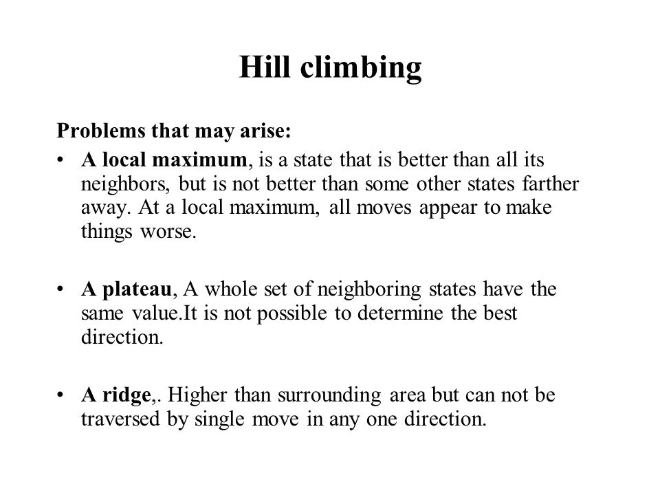 Hill climbing Problems that may arise: