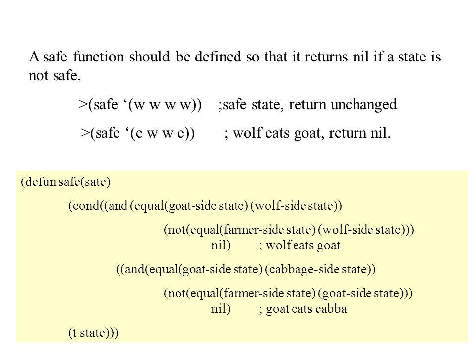>(safe '(w w w w)) ;safe state, return unchanged