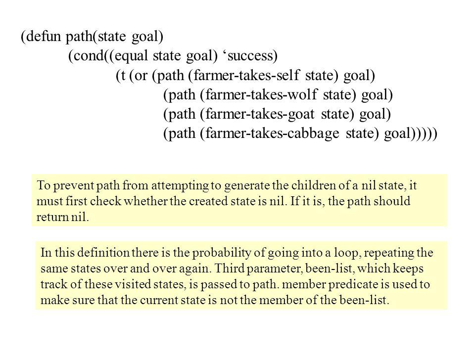 (defun path(state goal) (cond((equal state goal) 'success)