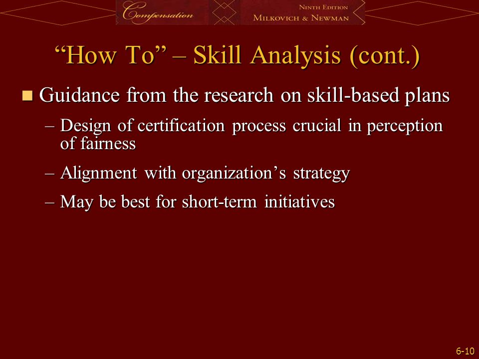 How To – Skill Analysis (cont.)