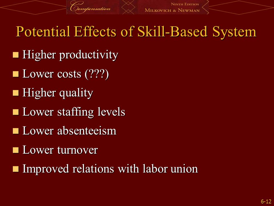 Potential Effects of Skill-Based System