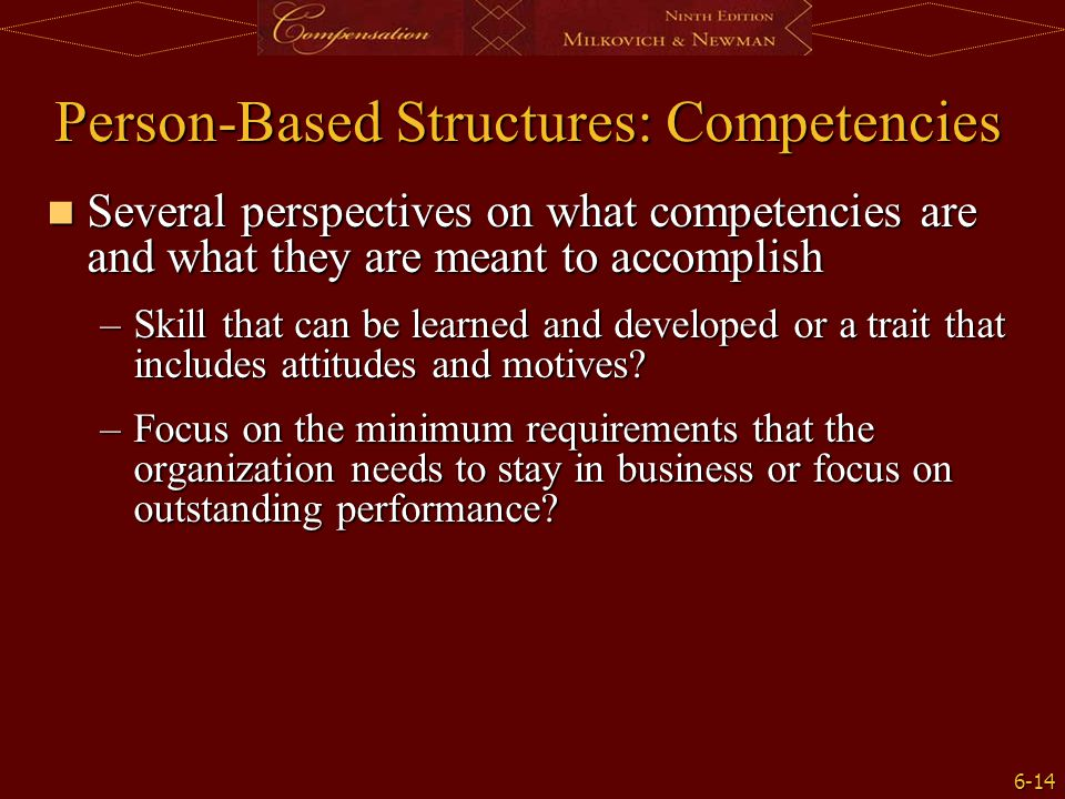 Person-Based Structures: Competencies