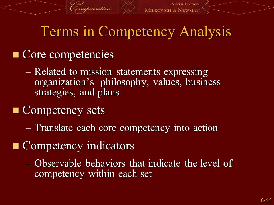 Terms in Competency Analysis