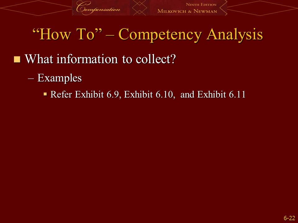 How To – Competency Analysis