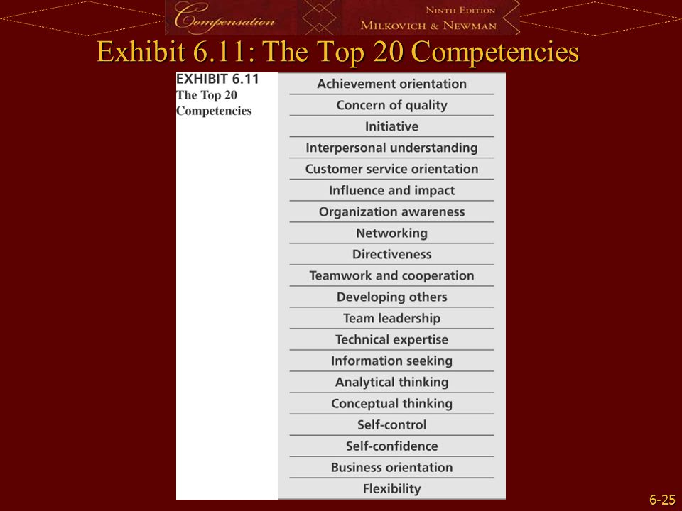 Exhibit 6.11: The Top 20 Competencies