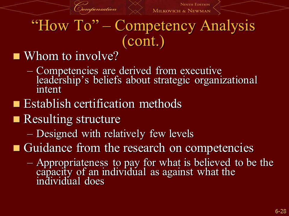 How To – Competency Analysis (cont.)