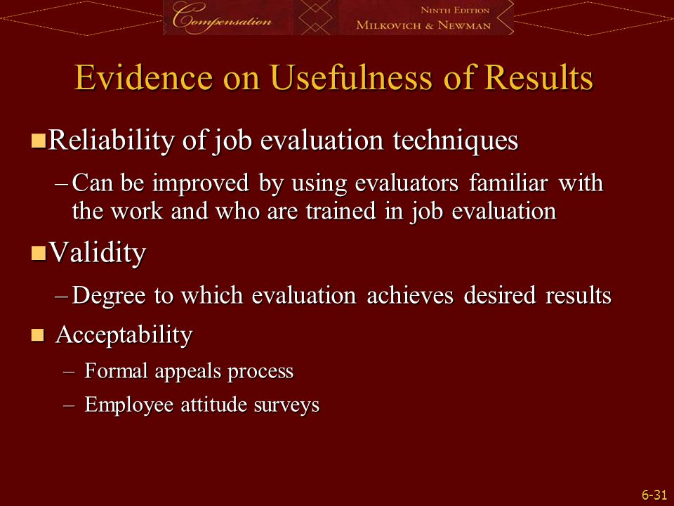 Evidence on Usefulness of Results