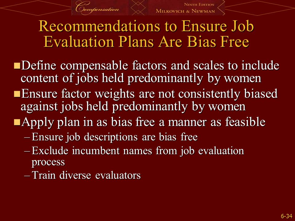Recommendations to Ensure Job Evaluation Plans Are Bias Free