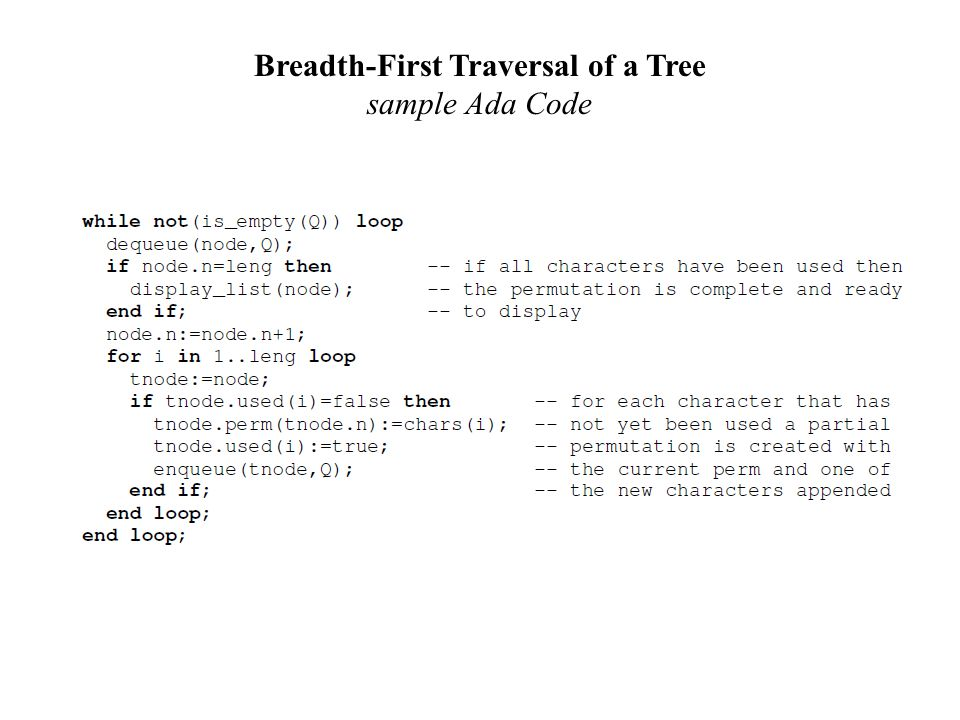 Breadth-First Traversal of a Tree