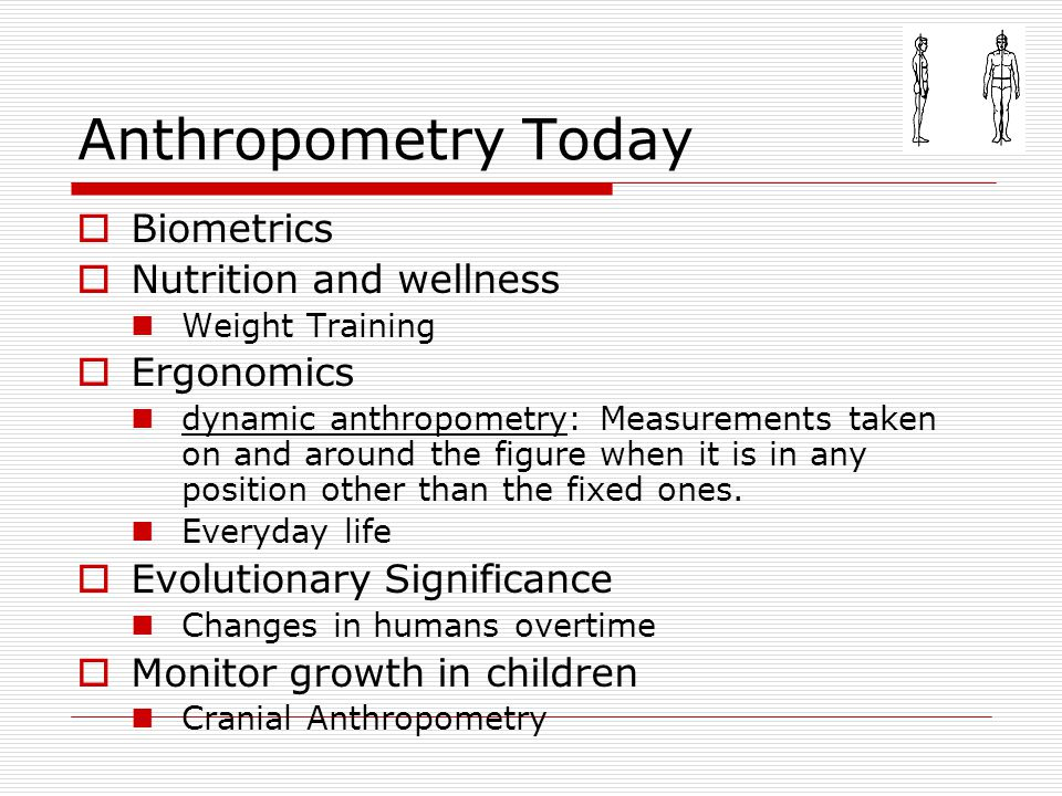 Anthropometry Today Biometrics Nutrition and wellness Ergonomics