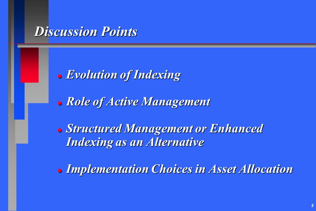 Discussion Points Evolution of Indexing Role of Active Management