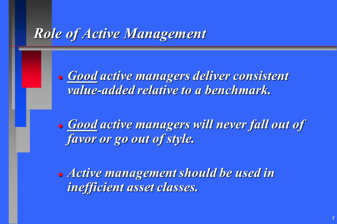 Role of Active Management