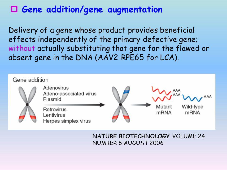 Gene addition/gene augmentation
