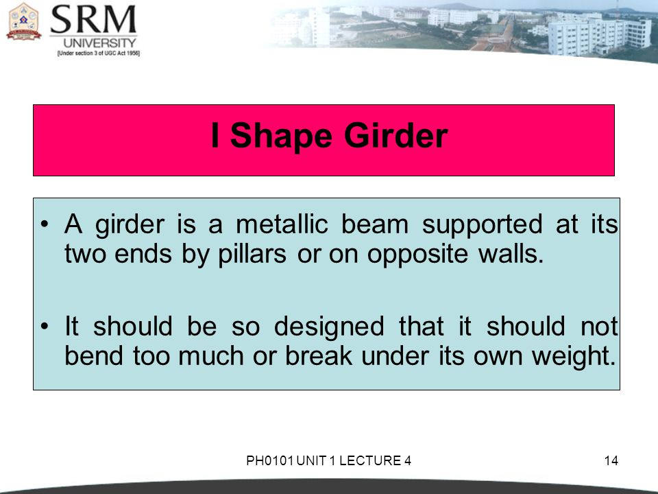 I Shape Girder A girder is a metallic beam supported at its two ends by pillars or on opposite walls.